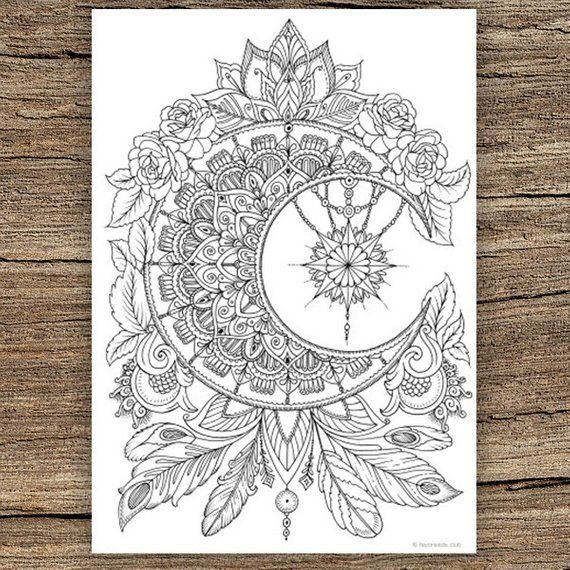 Moon Printable Adult Coloring Page From Favoreads Coloring Book
