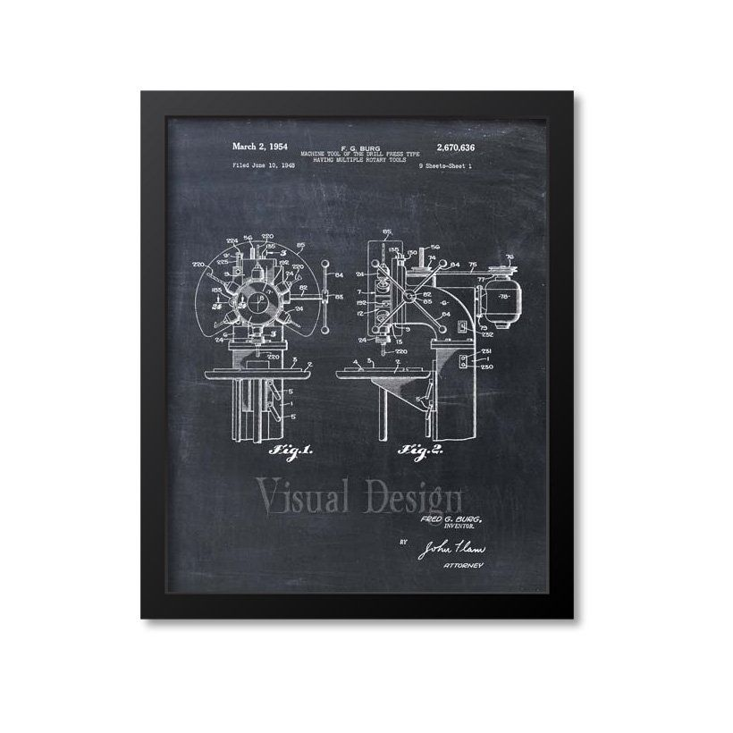 Drill Press Patent Print Art 1954 Etsy Patent prints