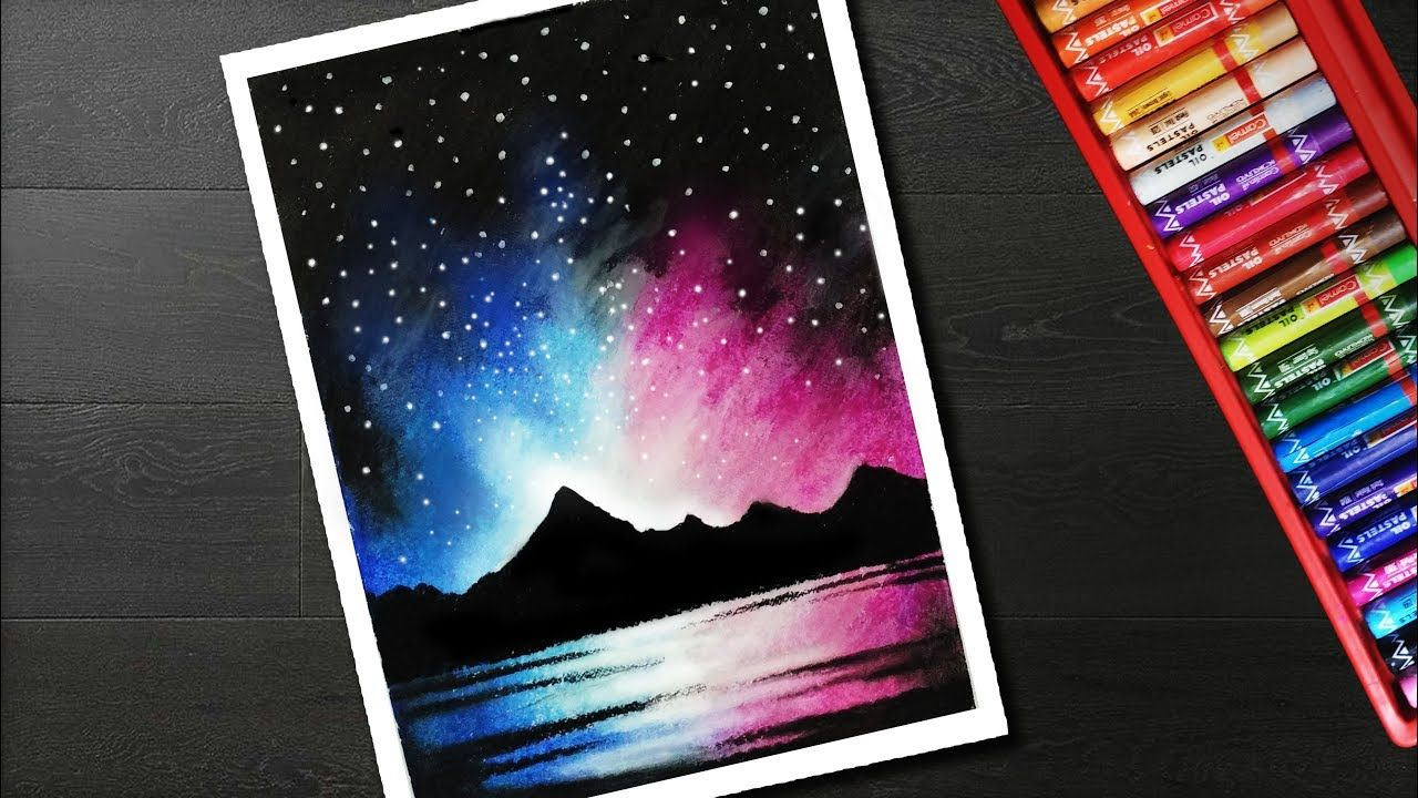 8 00 How To Draw Night Sky Mountain Scenery Drawing For Beginners