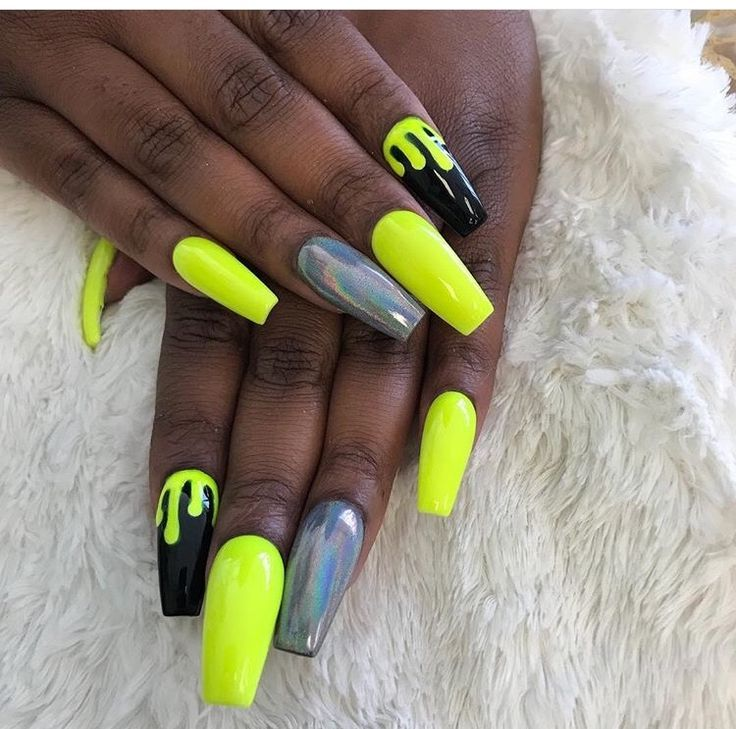 Acrylic Coffin Shaped Nails Shellac Neon Yellow And Black Coffin