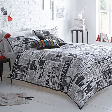 Grey  Hot off the press  bedding set - Duvet covers   pillow cases - Bedding  - Home   furniture - 99abd1c9473