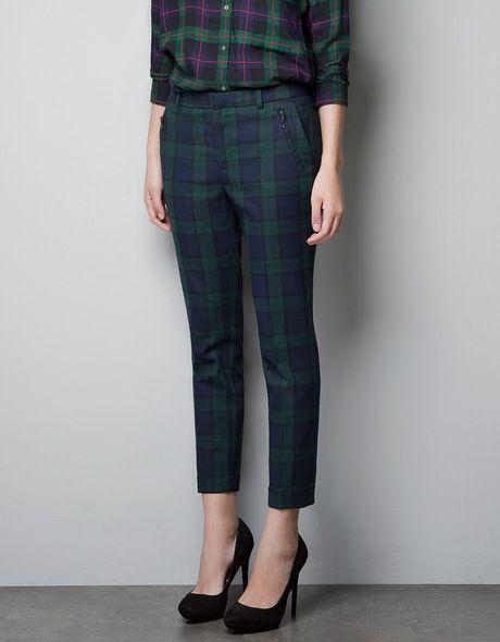 dad43d90 Zara Green Tartan Cropped Trousers | Bardot in 2019 | Tartan pants ...