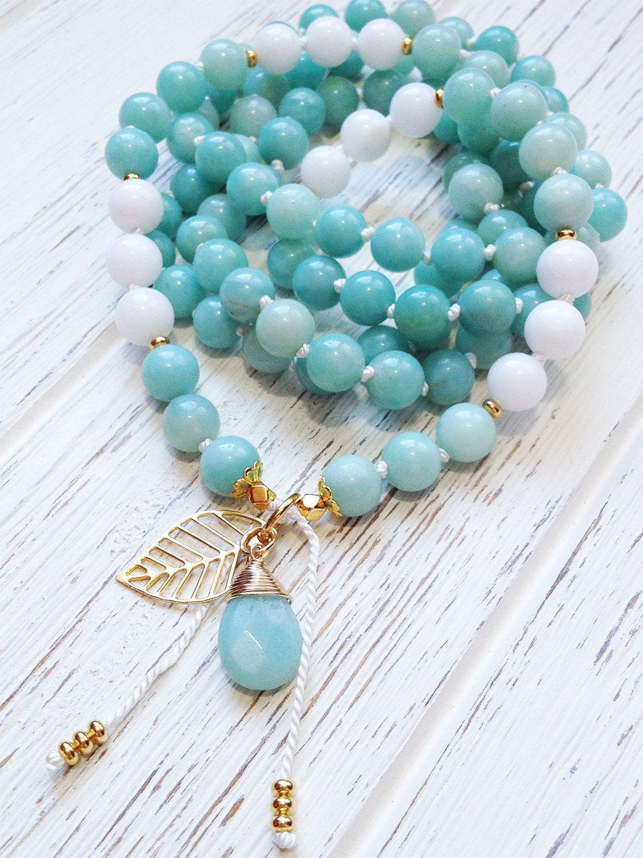 Healing Energy Mala Beads 108 Blue Amazonite Mala Necklace