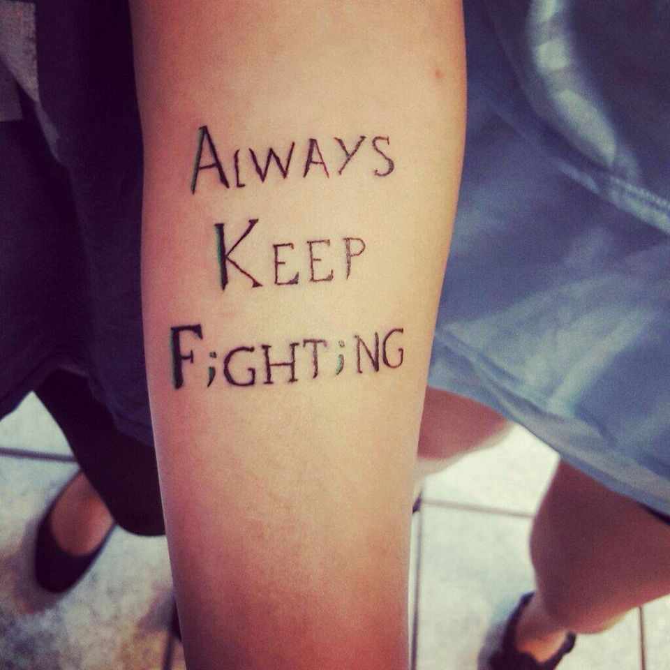 Always keep fighting. Jared Padalecki tattoo. This is
