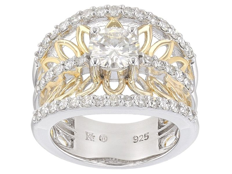 Moissanite Fire R 1 80ctw Dew Platineve Tm 14k Yellow Gold Over Silver Two Tone Ring Fire Jewelry Jewelry Moissanite Jewelry