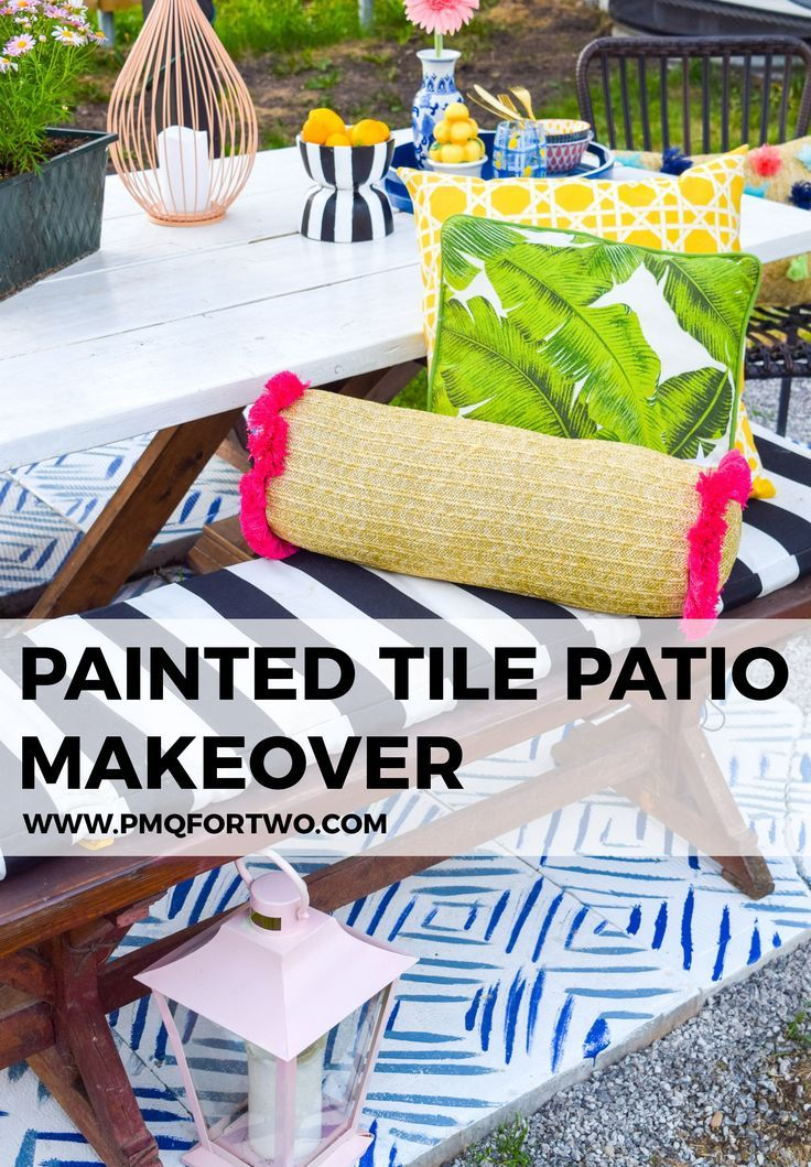 Painted Patio Tiles Makeover Patio tiles, Patio makeover