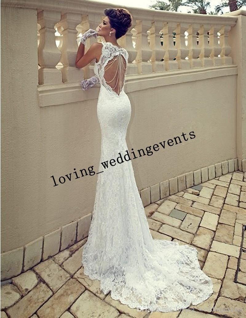 New charming sweetheart sleeveless white mermaid lace wedding