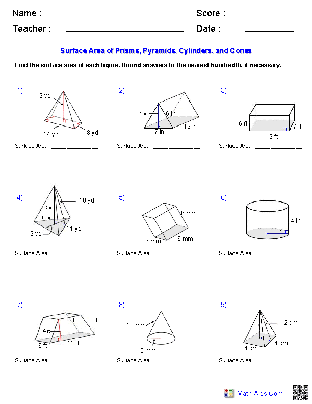 Worksheets Surface Area Triangular Prism Worksheet prisms pyramids cylinders cones surface area worksheets math worksheets