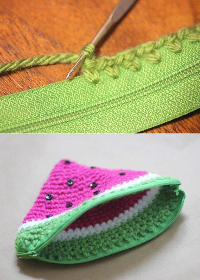 Como colocar zíper no seu crochet | trabalhos manuais | Pinterest ...
