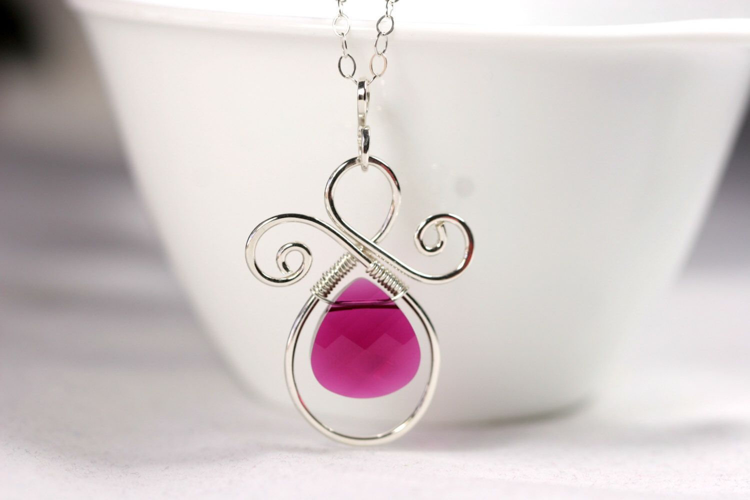 Ruby Necklace Wire Wrapped Jewelry Handmade Sterling Silver Jewelry ...