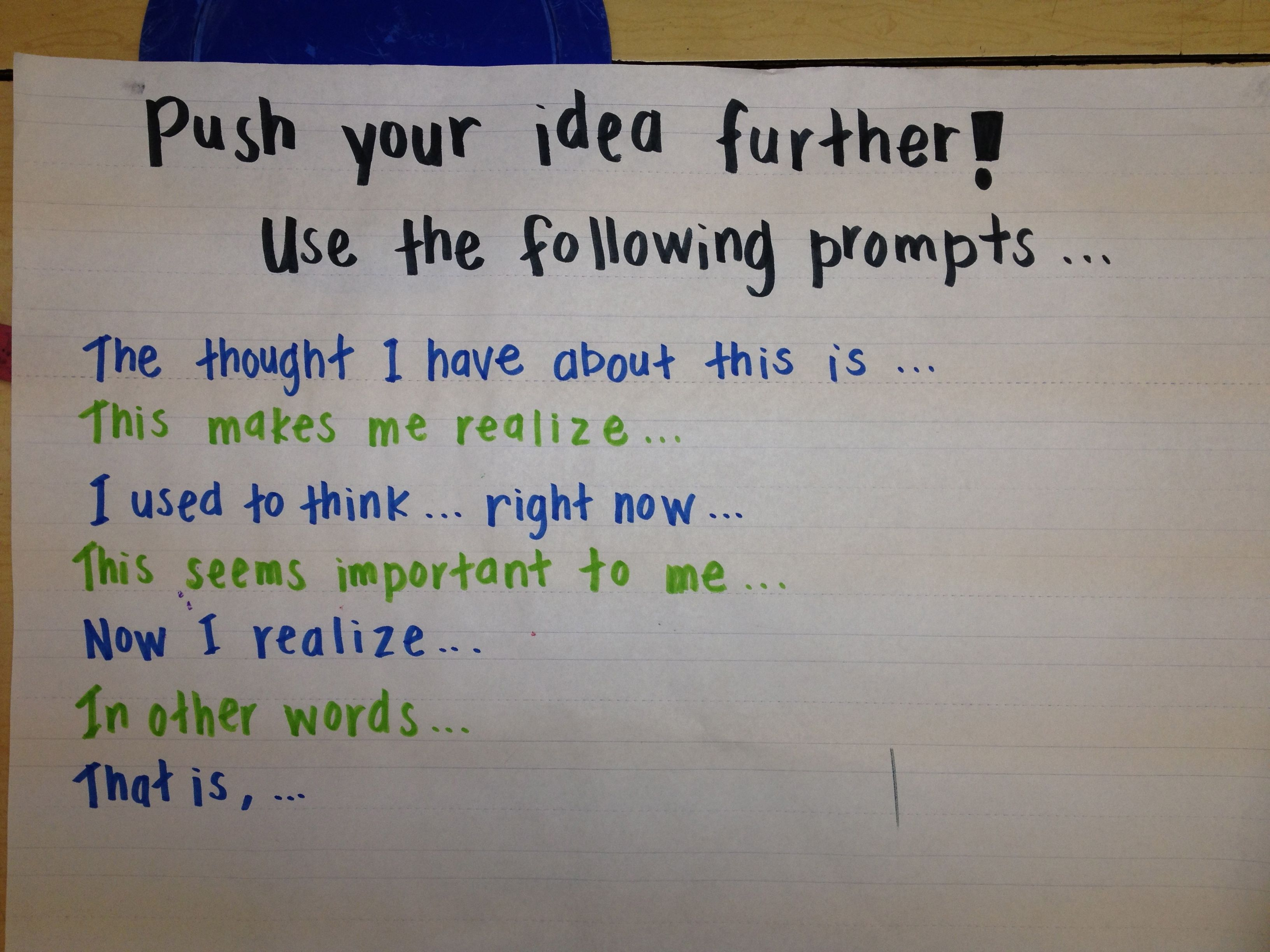 Push Your Idea Further Reading Anchor Charts Reading Writing Reading Workshop