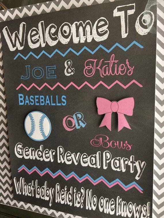 Baseballs Or Bows Gender Reavel Baby Shower Door Sign Bow Gender Reveal Baseball Gender Reveal Baby Gender Reveal Party