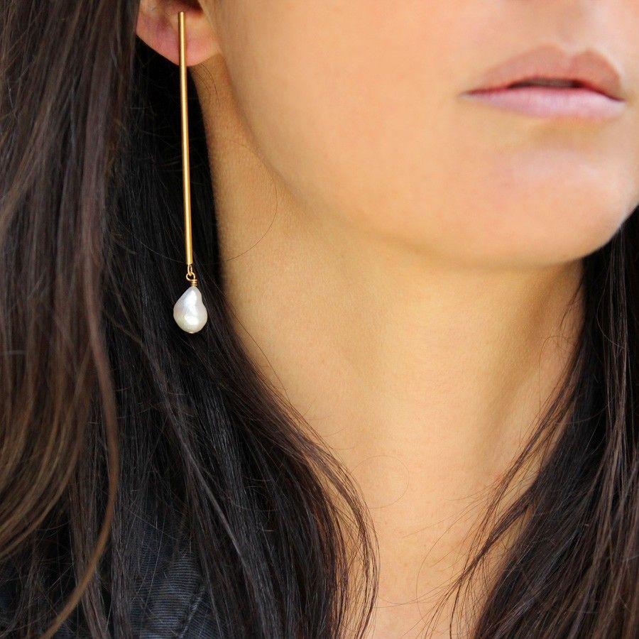 Nouveau Plaqué Argent Bijoux Fashion Extra Long Dangle longue chaîne perle Boucles d/'oreilles