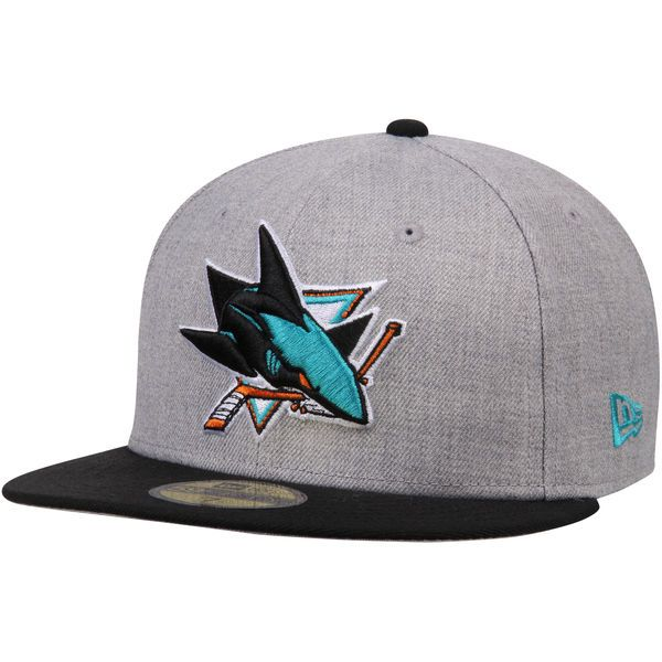 633d63f83aef2 Men s San Jose Sharks New Era Heathered Gray Black Fashion 59FIFTY Fitted  Hat