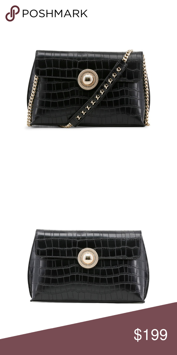 a7734a00 Versace Jeans Black Clutch Evening Bag with Gold Collection ...