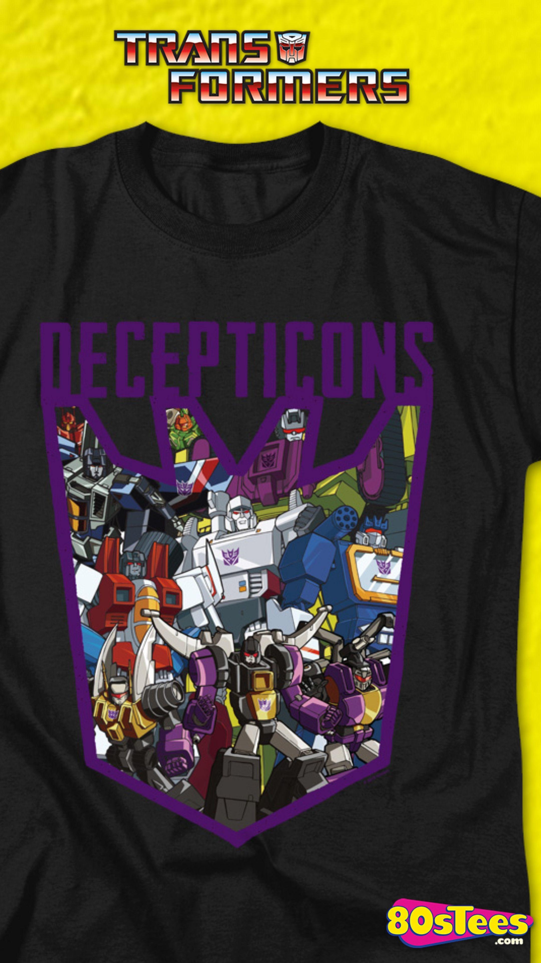Decepticons Autobots Split Logos Transformers T-Shirt Black S-3XL