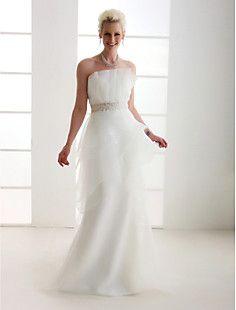 a-line senza spalline Corte dei treni organza abito da sposa – USD $ 249.99