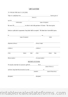 Sample Printable Gift Letter For Buyer From Family Member Form