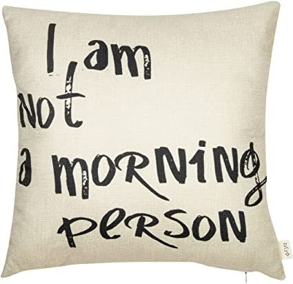 """Fjfz I Am Not a Morning Person Funny Décor Cotton Linen Home Decorative Throw Pillow Case Cushion Cover with Words for Sofa Couch, Black, 18"""" x 18"""""""