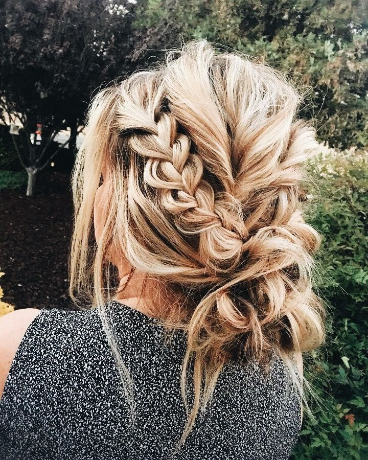 Wedding Braids For Long Hair: Messy Updo With Braids; Messy Bun With Braids In 2019