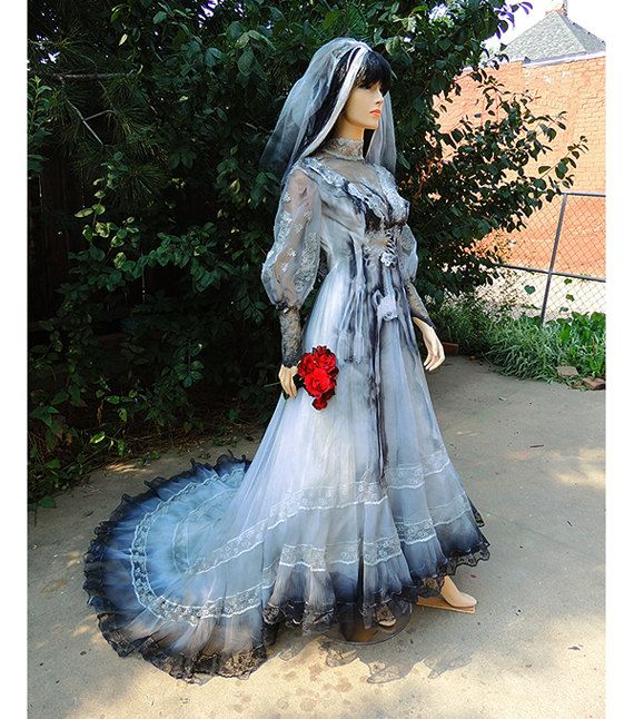 victorian ghost bride halloween costume wedding dress gown by graveyardshift13 on etsy - Halloween Costumes Victorian