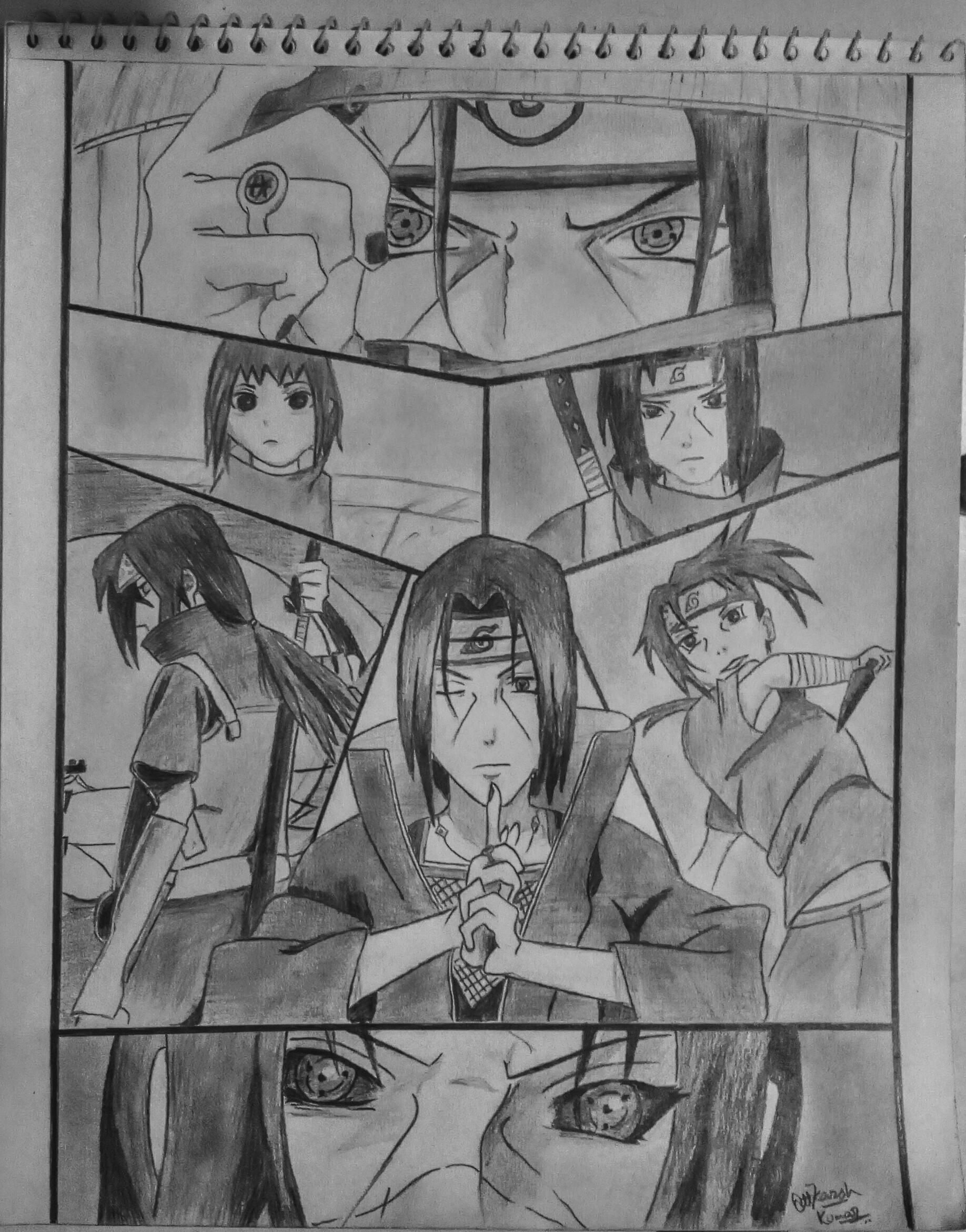 Itachi Uchiha Many Hours Of Hardwork Any Type Of Advice Will Be Welcomed Reference Used Naruto Naruto Sketch Naruto Drawings Itachi Uchiha Art