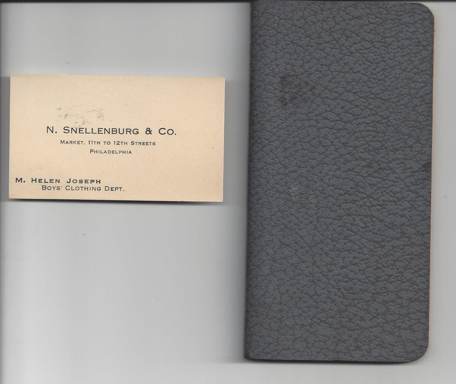 Old notebook business card n snellenburg co mens clothing store old notebook business card n snellenburg co mens clothing store philadelphia ebay reheart Image collections