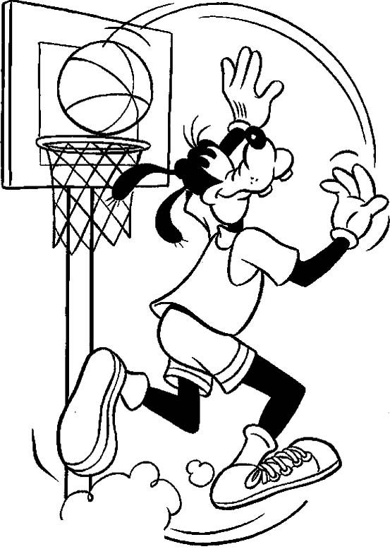 Coloring Pages For Basketball : Goofy playing basketball coloring page sports during