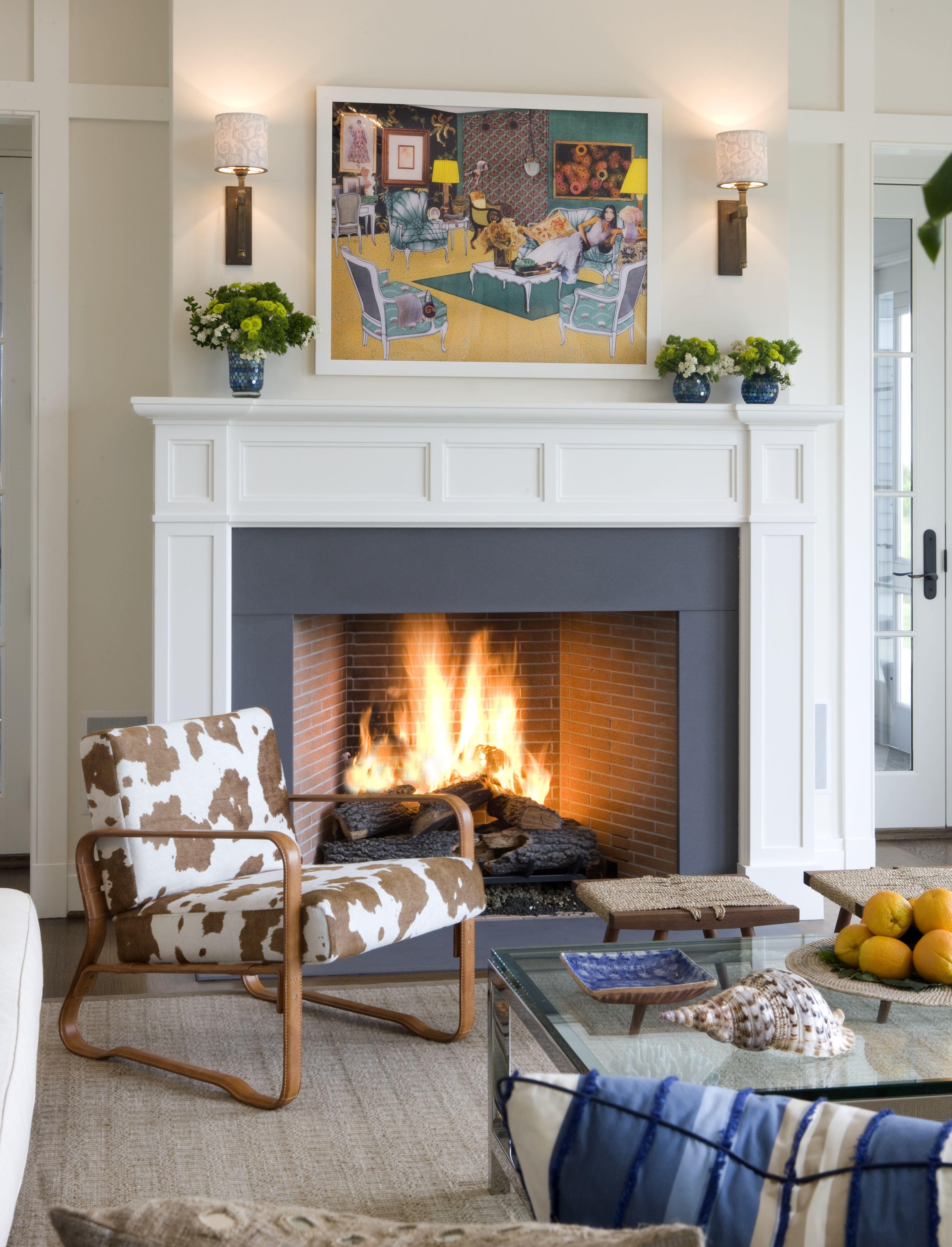 Interior Design Living Room Fireplace Cow hide