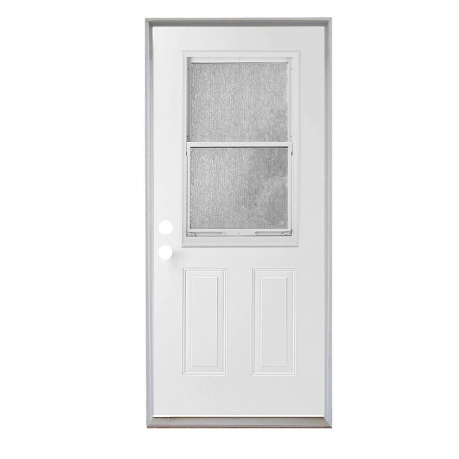 Reliabilt 2 Panel Insulating Core Vented Glass With Screen Right Hand Inswing Steel Primed Prehung Entry Door Commo Steel Doors Exterior Reliabilt Entry Doors