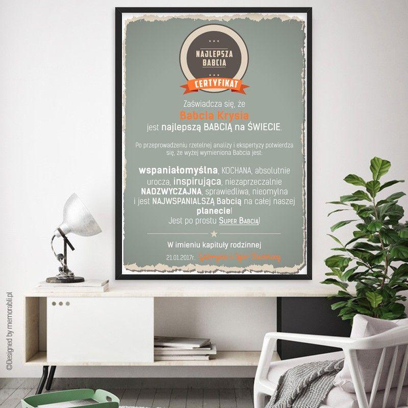 Certyfikat Najlepsza Babcia Dziadek Plakat Dla Babci I Dziadka Home Decor Home Decor Decals Decor