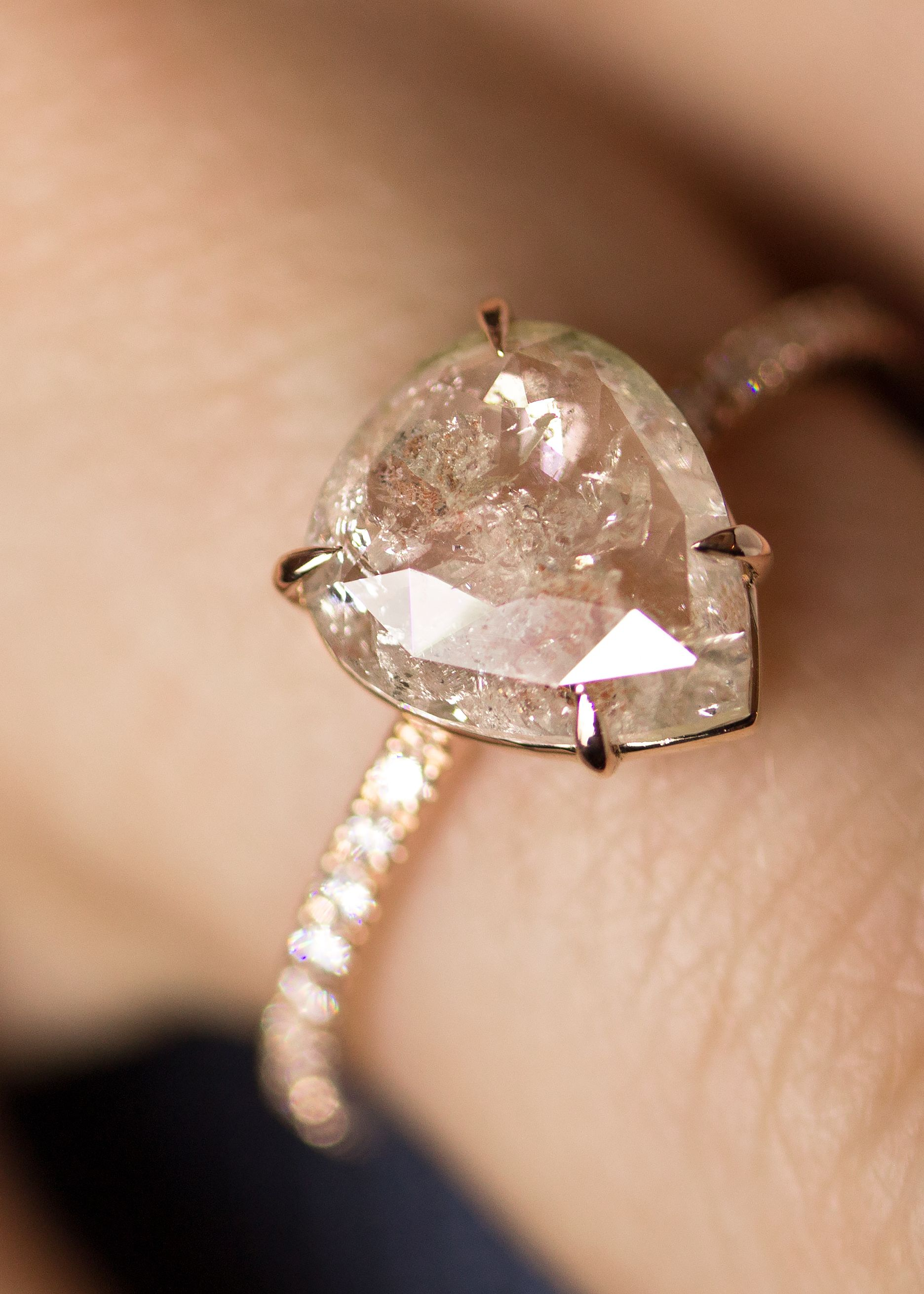 1 50 Carat Milky White Pear Shaped Rose Cut Solitaire Engagement