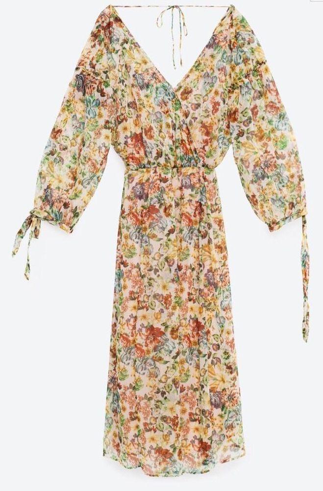 NWT ZARA Printed Floral Crepe V Neck Crossover Dress Midi