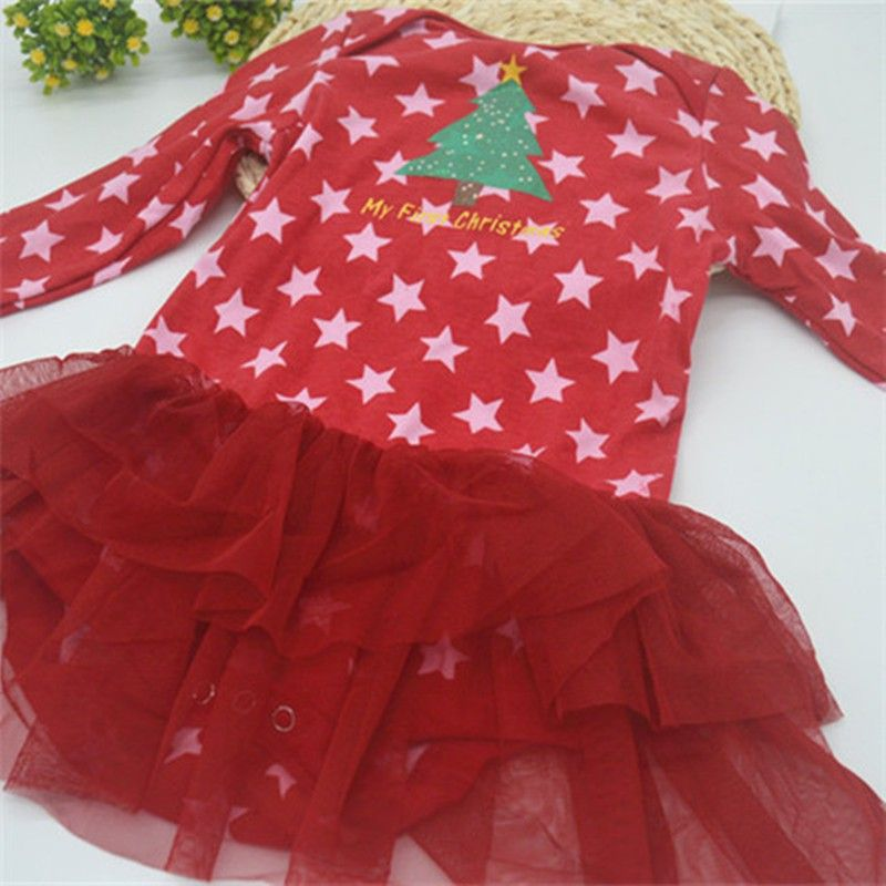 Girls romper baby Christmas jumpsuits baby rompers cotton newborn long sleeve baby panties baby clothes free shipping MC002 $6.65