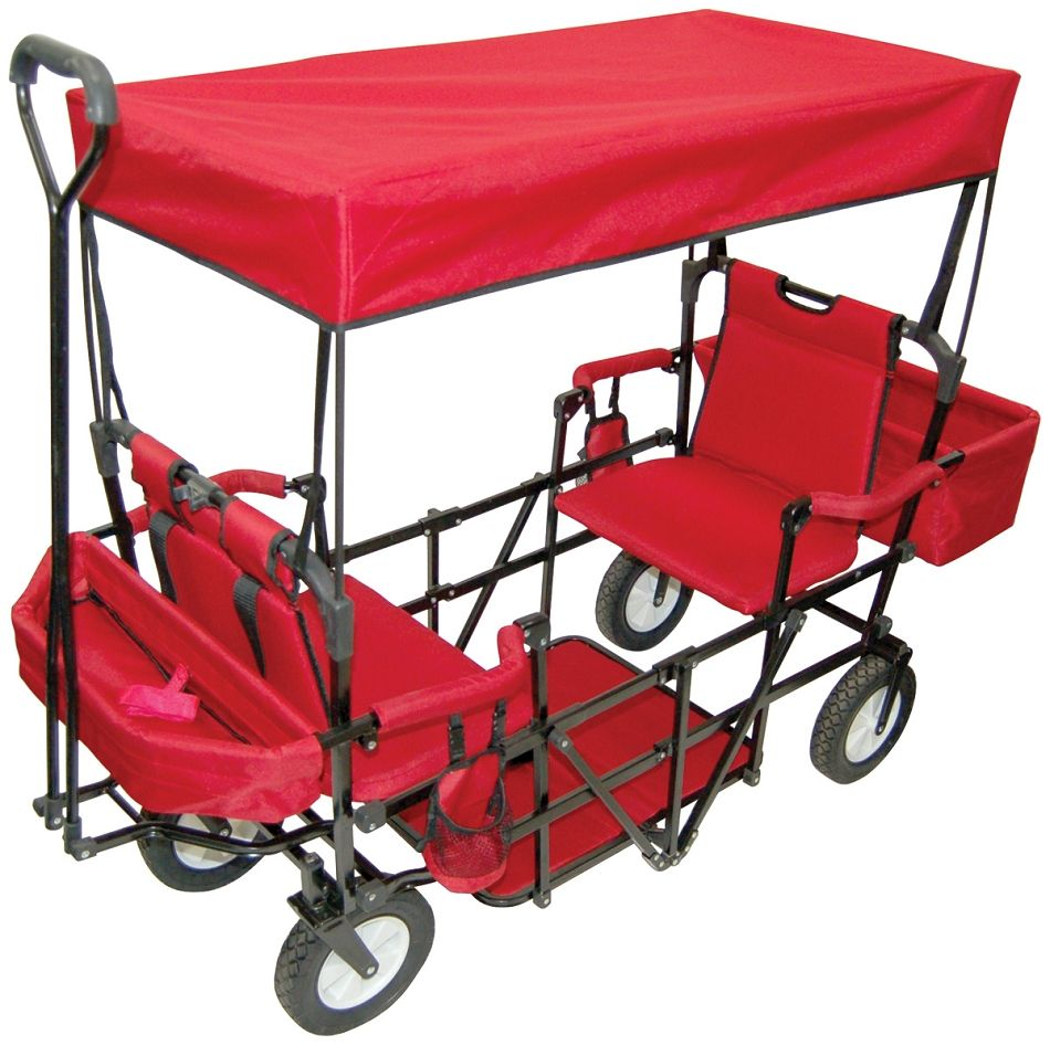 Double Seat 2Seater Folding Red Wagon with Canopy