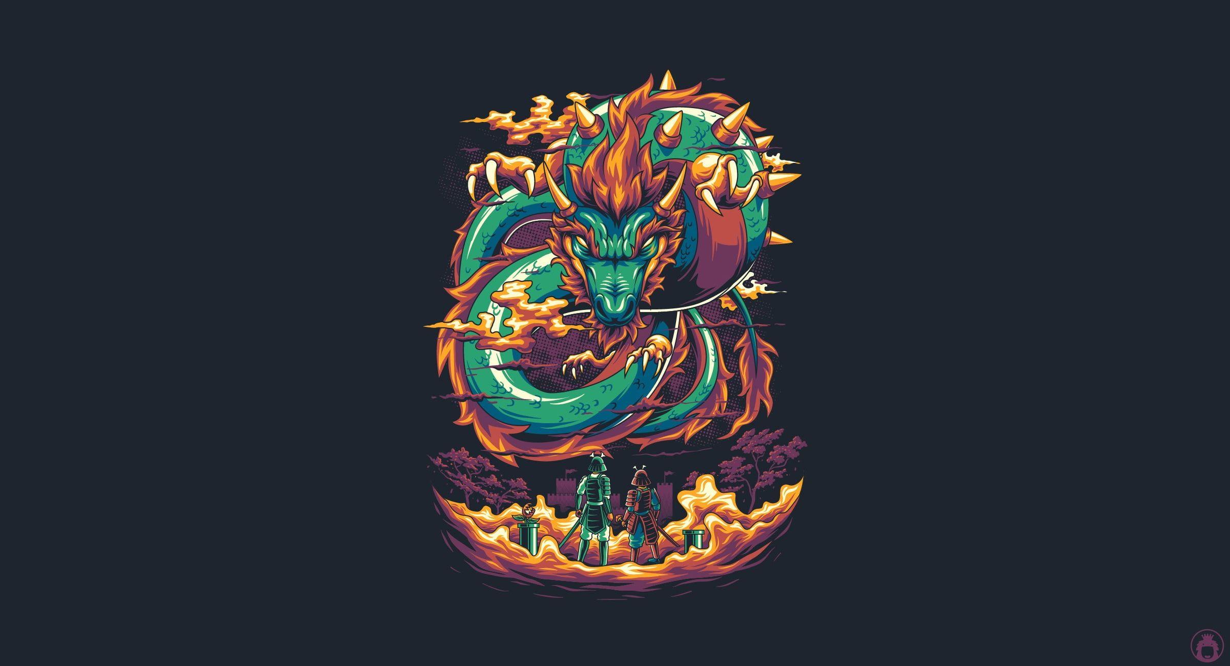 Dragon Art Mario Vector Game Background