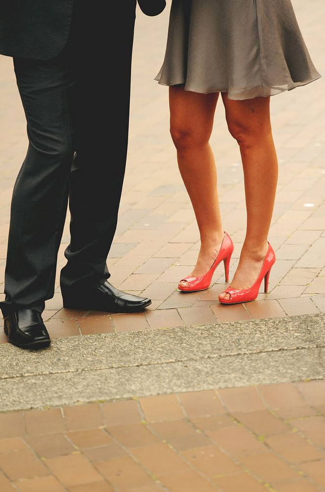 Gray Bridesmaid Dresses with Red High Heels