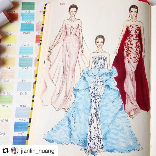 #Repost @jianlin_huang with @repost app Ralph & Russo Haute Couture AW 2016. Quick sketch on @fashionary with @copicmarker. @ralphandrusso #ralphandrusso #hautecouture #pfw #fashionary #copicmarkers #wip #workinprogress #sketch #fashion...