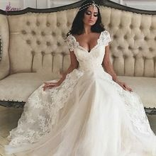 Custom Made Sexy V Neck Wedding Dress Short Sleeve Lace A Line Bridal Gowns 2015 Tulle Floor Length Vestido De Noiva Hot(China (Mainland))