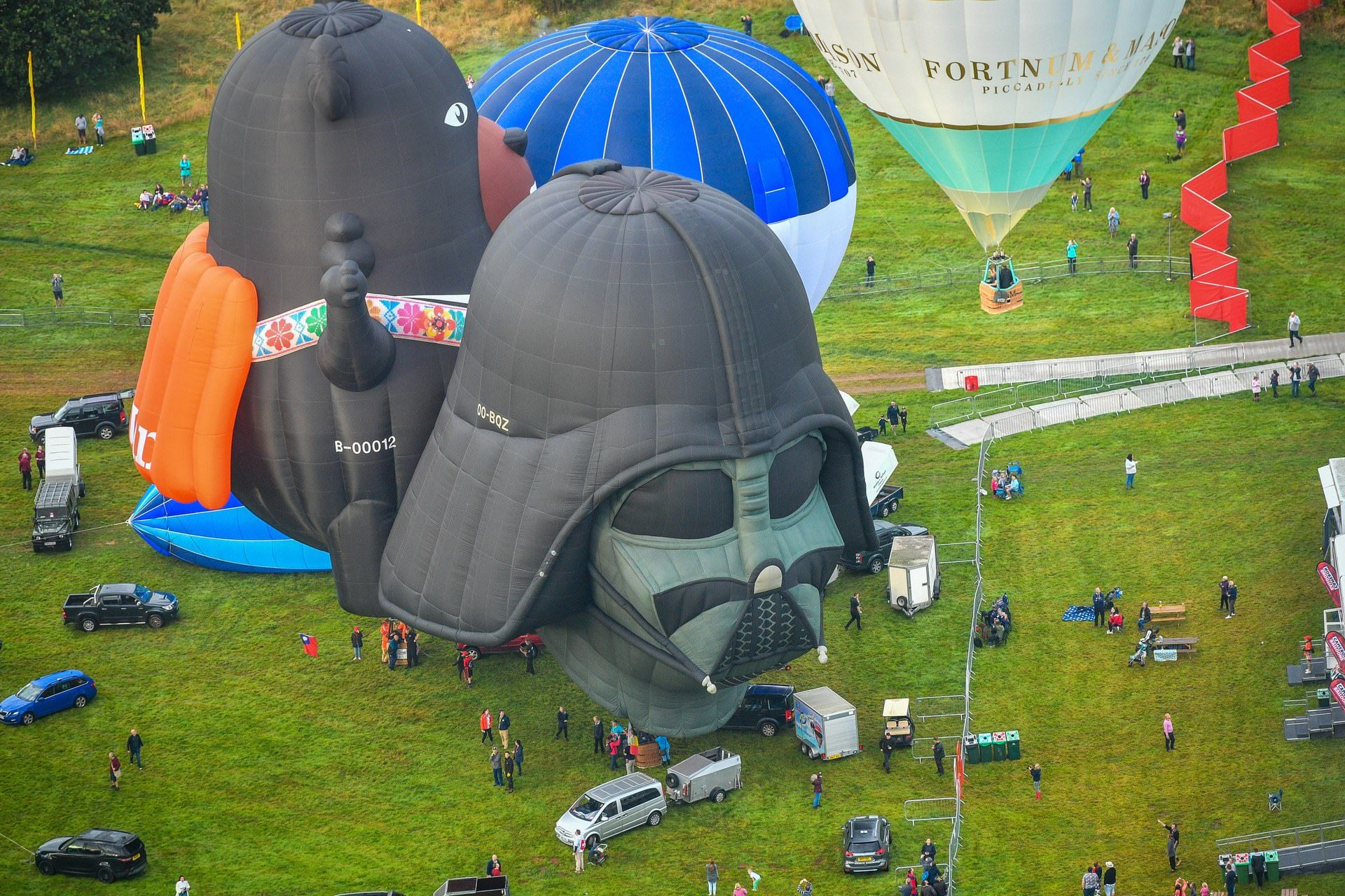 A Darth Vader balloon waits to take off at Ashton Court
