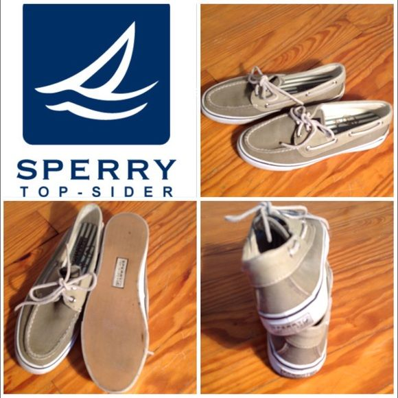 Sherry Top-Sider Boat Shoes Khaki Sperry's in boat shoe style. Rawhide ties. Perfect condition with no marks, stains, or tears. Perfect summertime shoe! Sperry Top-Sider Shoes