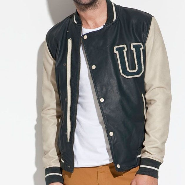 mens jasper pu leather letter u varsity jacket 2012 autumn pu leather baseball jacket for men