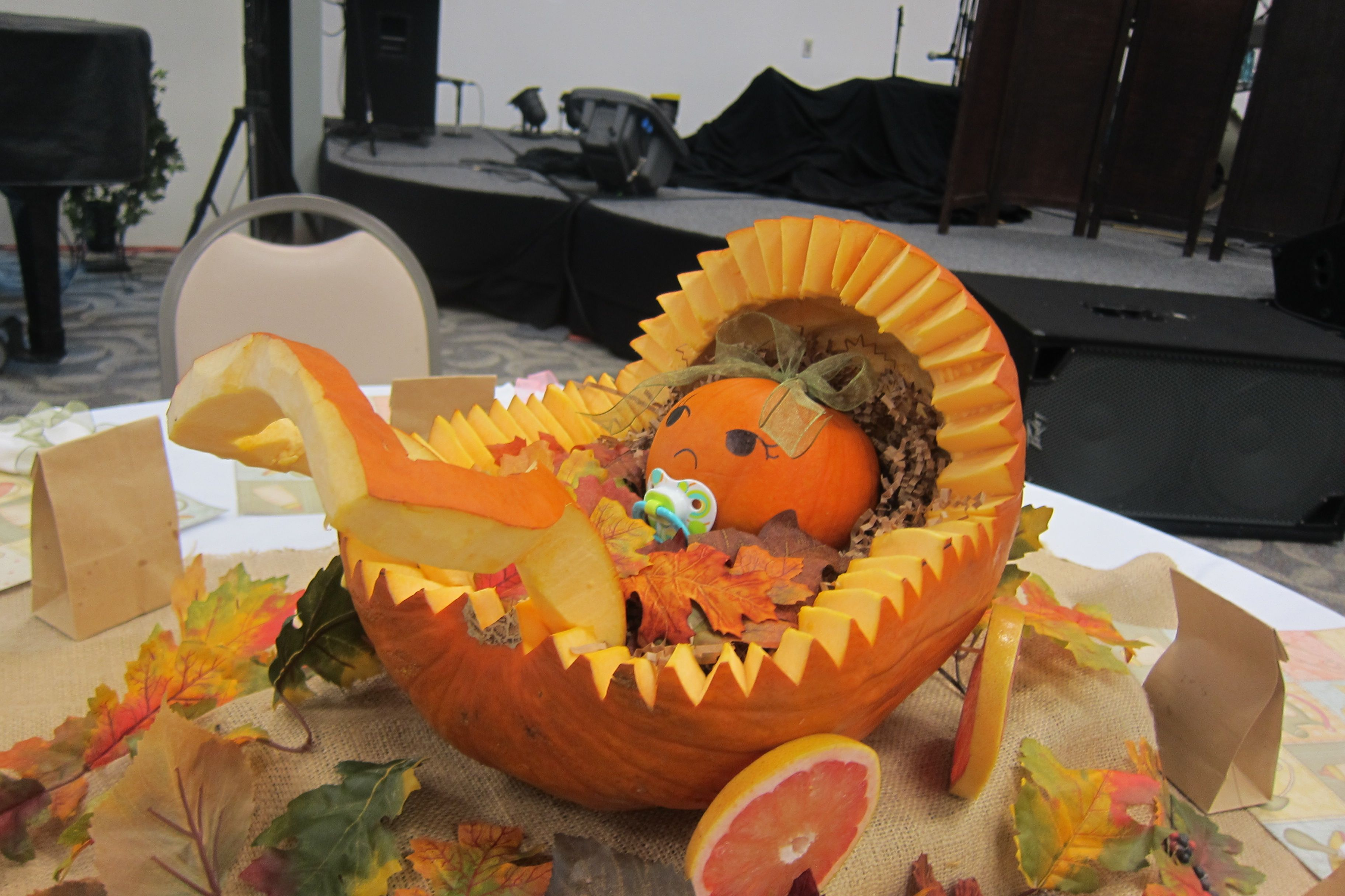 fall pumpkin baby stroller fruit bowl for baby shower, we didn't