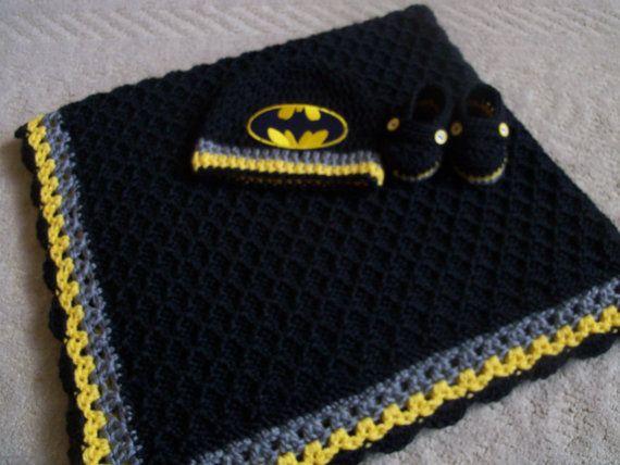 Knit/Crochet Batman Baby Blanket Hat and by Blesslittleangel