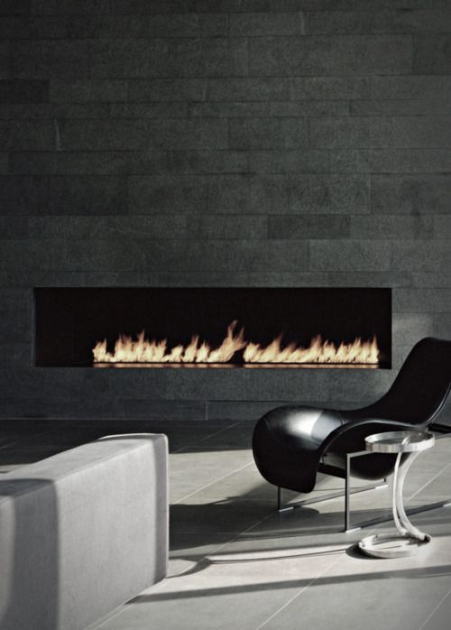 Ribbon Fireplace -- LR of VWC house  Schein Loft by Archi-Tectonics