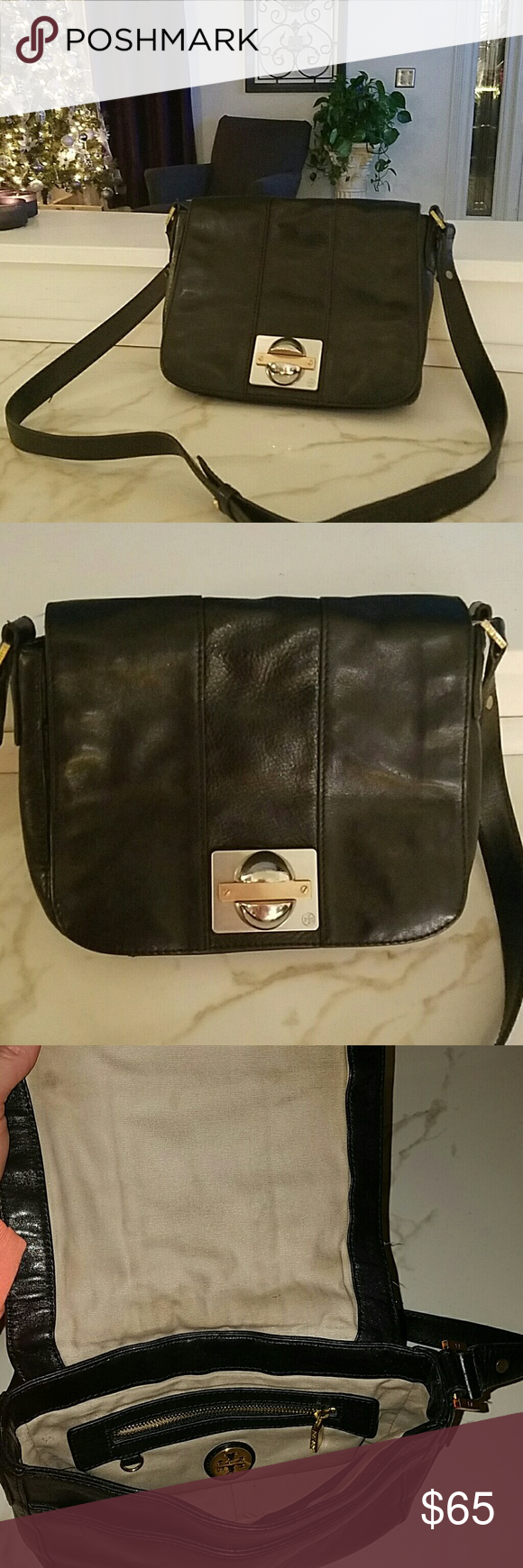 Tory burch bag Tory Burch bag. Good condition. About 9 inches across and 7 inches tall. Inside could use a cleaning but the bag is in good shape. Tory Burch Bags