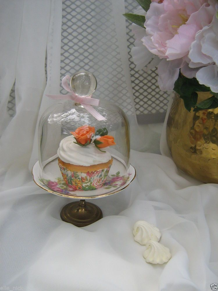 Glass butter cheese mini cake cupcake dome lid cloche bell