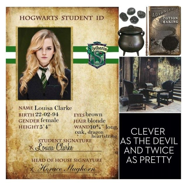 """""""Hogwarts Student ID #1"""" by leah1992 ❤ liked on Polyvore featuring slytherin, hogwarts, magic, Students and potions"""
