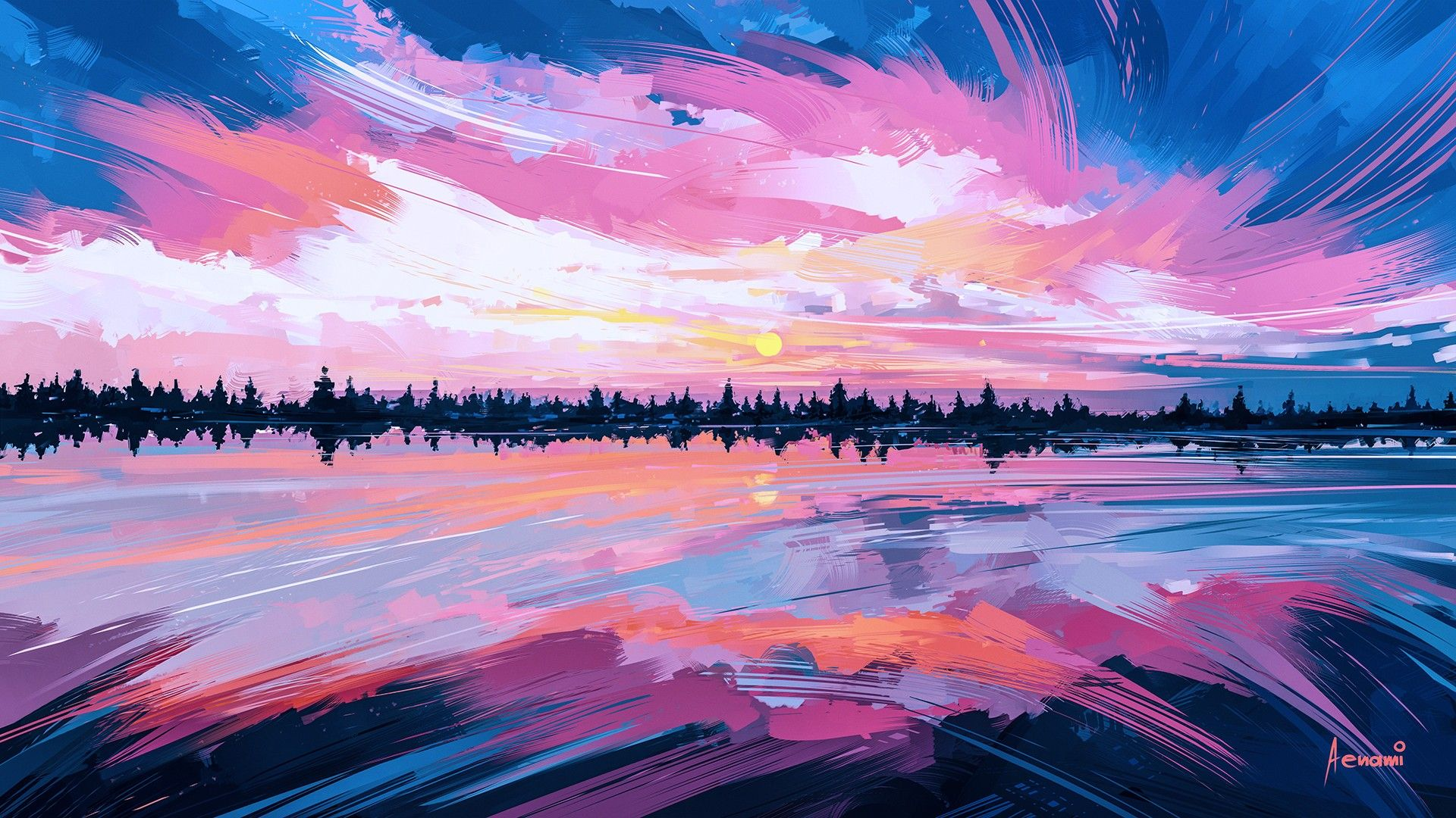 General 1920x1080 Artwork Aenami Pink Abstract Painting Art Wallpaper Artwork