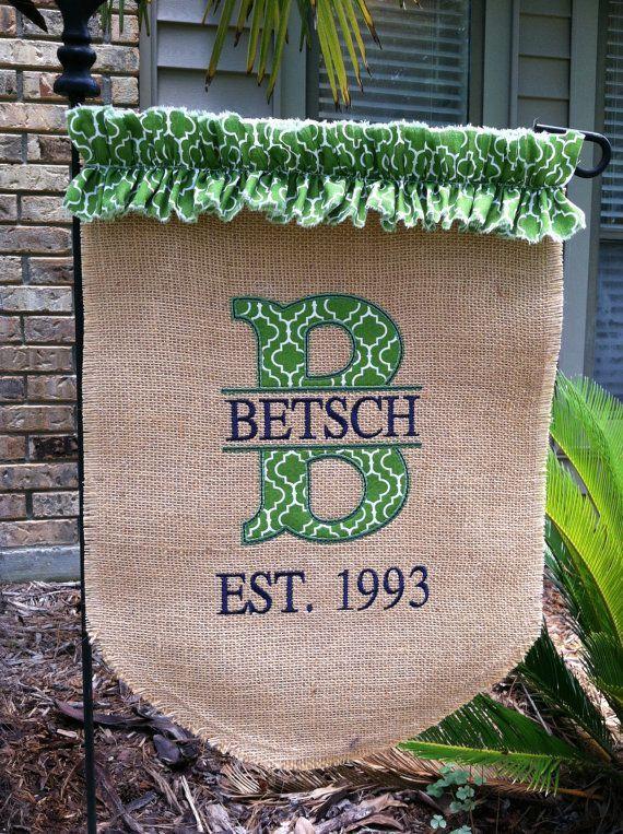 Split Initial Burlap Garden Flag By EmmabellasDesigns On Etsy, $39.99 #diy  #crafts
